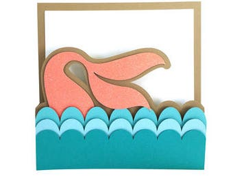 Mermaid Card , Tail , Waves , Water , Papercut , Adults , Kids, Teens , Girls , all Occasions