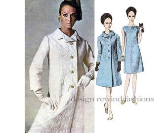 1960s Vogue 1670 Mod COAT & SLEEVELESS DRESS Pattern Galitzine Designer Vogue Couturier Bust 38 Size 18 Womens Sewing Patterns UNCuT