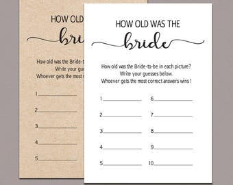 How old was the bride, guess brides age, Wedding Shower Printable Game, rustic bridal shower games funny, how old was the bride to be B11