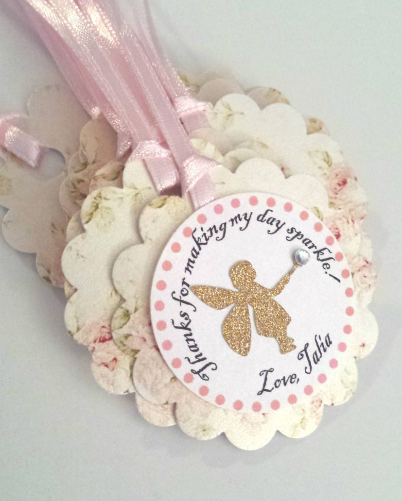 Fairy birthday party favor Thank you tags. Enchanted forest