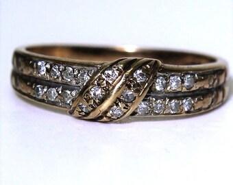 0.20ct Diamond Sash 9ct Yellow Gold Half Eternity Band Ring size J ~ 4 3/4