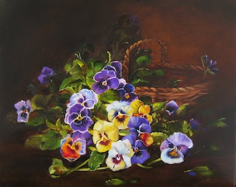 Still Life with Pansies Flowers heartsease Small original oil painting Handmade art floral paintings canvas art wall art decor, gift for her