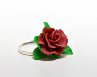 Red rose adjustable ring, polymer clay jewelry, Flower ring, Red rose Jewelry, Handmade flowers,  Red ring, Ghift for her, unique jewelry