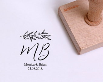Save The Date Wedding Monogram Stamp / Wedding Invitation / Wedding Favors Gift / Custom Rubber Stamp / Personalized Stamp / Wooden Stamp