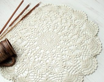 Cream Crochet Doily, Large Crochet Doily, Christmas gift, lace doily, home decor, table decoration, handmade, center piece