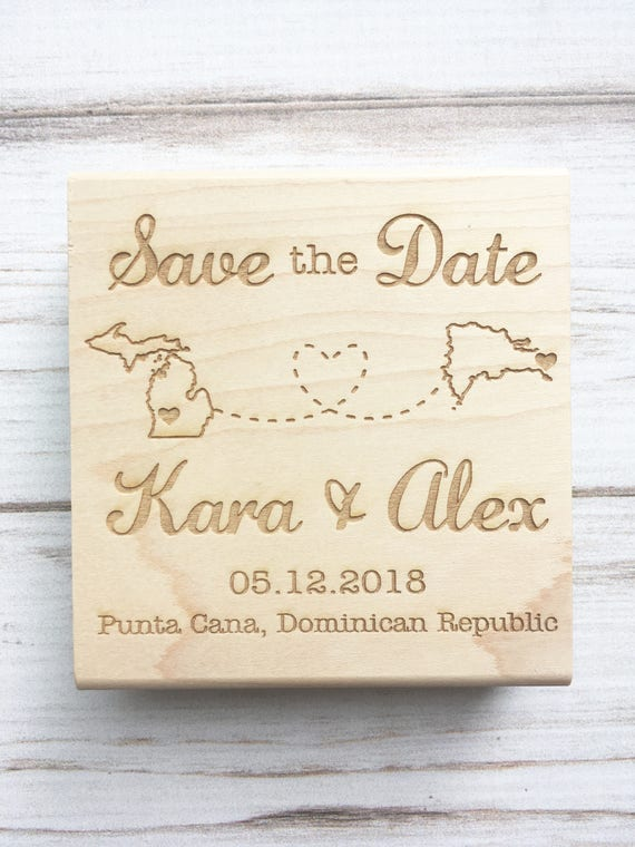 Save the Date Rubber Stamp with Connecting States or Countries, DIY Wanderlust Wedding Destination Wedding