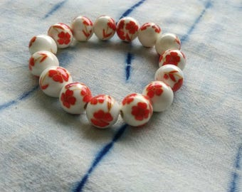 Asian pearls white flower  red porcelain jewelry 3 pieces