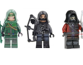 Green arrow Dark Arrow Red arrow archer collection 3pc Custom made Minifigure  some models built of LEGO® BRICKS