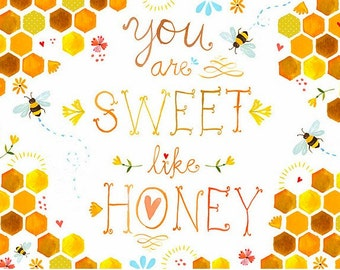 Sweet Like Honey art print | Watercolor quote | Wall art