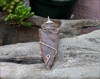 LARGE Stone Arrowhead Jewelry - Bohemian Jewelry - Boho Chic Gypsy Necklace - Arrowhead Necklace - Stone Necklace for Hippies - Boho Jewelry