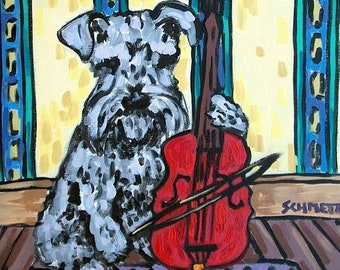 25% off Schnauzer Playing  Cello Dog Art Tile Coaster gift