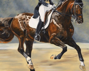 "Equine art: ""Cadence"" framed 36""x24"" oil on board"