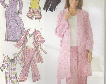 Pajama Pattern Top Bottom Robe Nightgown Misses Size XXS, XS, S, M  uncut  Simplicity 3696
