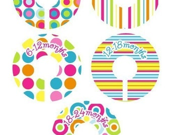 Bubblegum Closet Clothing Dividers for Girls - Set of 5 Dividers