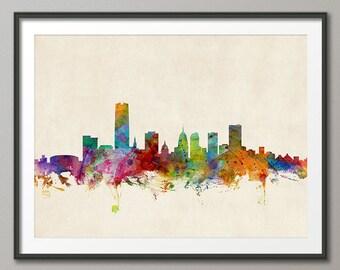 Oklahoma City Skyline Cityscape,Art Print (971)