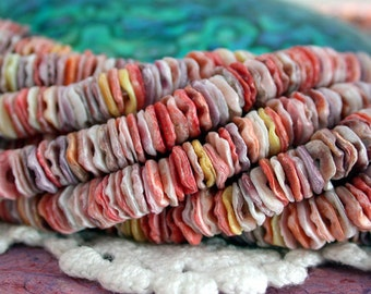 6.5mm Pectin Shells, Pectin Heishi Beads, Undyed Shell Beads, Shell Heishi Beads, Natural Color Shell Beads SHL-074
