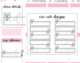 Bow Clip Planner Sticker Labels | 138