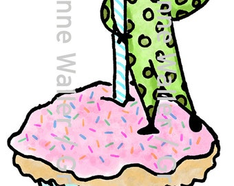 People with Food:  Cupcake with Candle digital printable clipart