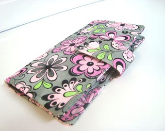 Fabric Checkbook Cover, Checkbook Holder  Cash Holder Coupon Holder - Gray with Pink Daisy Floral