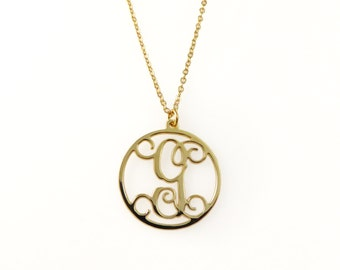 "Round Monogram Necklace. 1.25"" gold plated monogram. Personalized Initial.1 initial necklace. letter necklace. Gold initial necklace. Gifts"