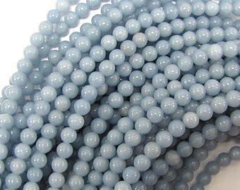"6mm blue angelite round beads 16"" strand 31421"