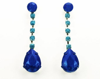 Cobalt Blue and Turquoise Hand Painted Rhinestone Earrings