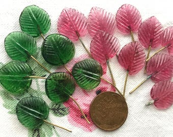 Wired Glass Leaf Charms, Drops Dangles, Czech Leaves, Vintage Supplies, Vintage Glass on Wire, Jewelry design, glass leaves, Boho #B178