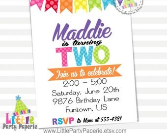 Girl Birthday Invitation | Digital | Printable | Rainbow Colors | Design 16020