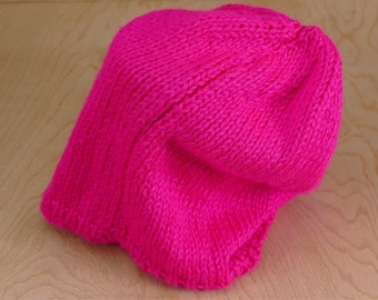 Hot Pink Knitted Slouch Beanie