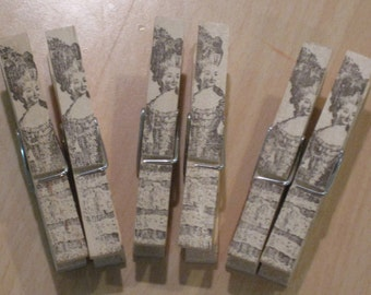 french market marie antoinette clothes pins lot of 6