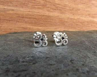 Om post earrings, Sterling silver Om earrings