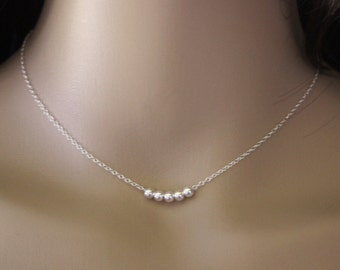 Minimalist choker necklace, silver sterling beads with 5 smooth balls - fine silver necklace - silver choker - silver beads necklace