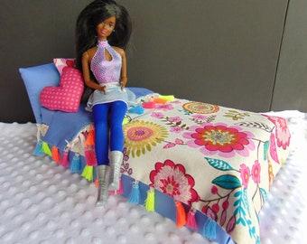 Handmade Barbie dollhouse furniture shabby chic bed