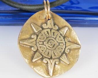 Southwest Aztec Sun Compass Bronze Pendant - Mexican Sun Compass Pendant Keyring - Southwest Tribal Compass Bronze Pendant - Necklace Gift