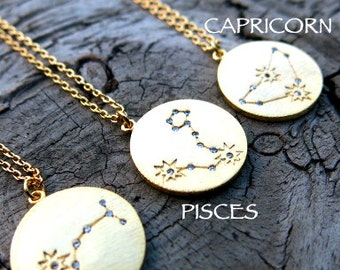 Zodiac Necklace, Gold Filled Necklace, Astrology Necklace,Dainty Necklace, Simple Necklace, Birthday Necklace, Constellation Necklace
