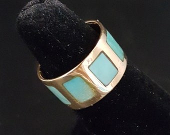 14K Gold Band Ring with Kingman Turquoise Inlay Ring