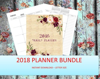 2018 Monthly Planner 2018 Printable Planner, Yearly Planner 2018 Weekly Planner, 2018 Agenda, Printable Planner 2018, 2018 Planner, A4