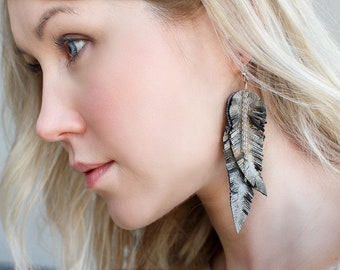 Grey brown Feather Leather Earrings, metallic leather, layered earrings, tribal Earrings, Boho earrings, dangle earrings, long earrings