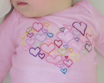 Pink or Lilac Heart Onesie, Love Onesie, Heart Bodysuit, Valentines Day Baby Baby Girl, cute baby clothes, Valentines day