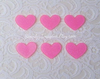 Pink Hearts Sparkle Cabochon Resin Flatback - 6 PCS