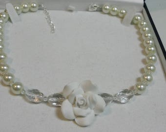 White romantic necklace with glass beads and 10 mm Crystal