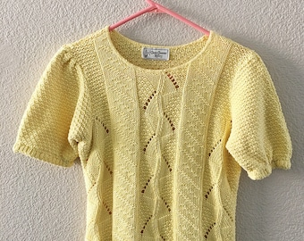 Vintage 80's Short Sleeve Yellow Sweater