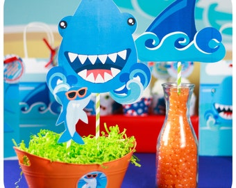 Shark Party; Shark Party; Shark Birthday Party; Shark Birthday; Birthday Party; Shark Centerpieces print, cut, and shipped