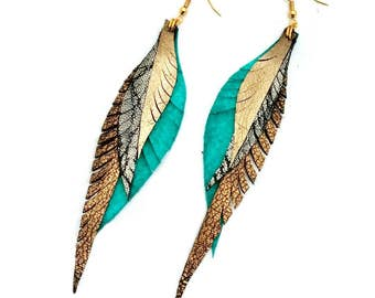 Leather Feather Earrings - silver, turquoise and gold