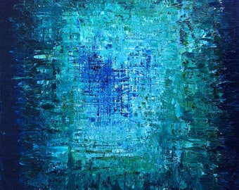 """HOLD for brcishere - Abstract Art Oil Original Painting Ocean Art, Ocean abstract Painting. Turquoise Blue, Sapphire Blue - """"THE ABYSS"""""""