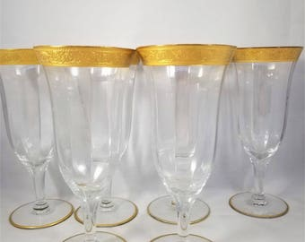 Set of 6 Minton Gold Encrusted Crystal Parfaits 1960s by Tiffin Franciscan , Gold Embossed Champagne Flutes,