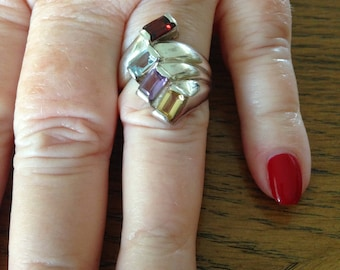 Topaz, Garnet and Amethyst Sterling Silver Ring