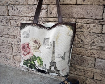 Tote Bag Canvas With Leather Handles Totes Beach Handbag Tote Summer Bag Large Eiffel Tower Tote Bag
