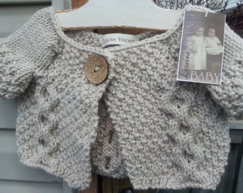 Unique One-of-a-Kind Hand Knit Short-Sleeved Baby Girl Acrylic Cardigan