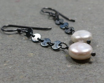 White Coin Pearl Earrings June Birthstone Oxidized Sterling Silver Disc Chain Dangle